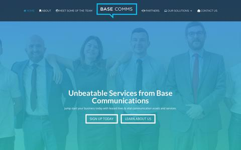 Screenshot of Home Page base-communications.co.uk - Leased Lines - Business Communication Services - Base Communications - captured Oct. 5, 2018