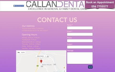 Screenshot of Contact Page callandental.ie - Contact Us   County Kilkenny   Callan Dental - captured Nov. 4, 2018