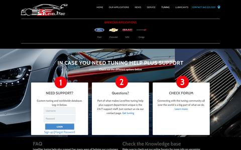 Screenshot of Support Page level1tec.com - Tuning Help Plus Support-level1tec - captured Sept. 29, 2014