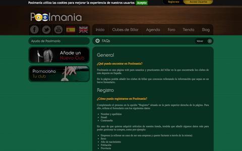 Screenshot of FAQ Page poolmania.es - El portal de referencia en el mundo del billar - captured Sept. 30, 2014