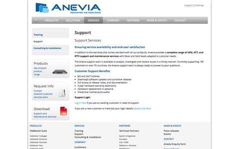 Screenshot of Support Page anevia-software.com - Support Services - IPTV Support      Support    Services   Anevia.com - captured Sept. 13, 2014
