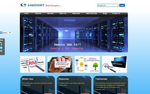 Screenshot of Home Page sakeesoft.com - Sakeesoft: IT Solution & Service Provider  - Sakeesoft.com - captured Sept. 30, 2014