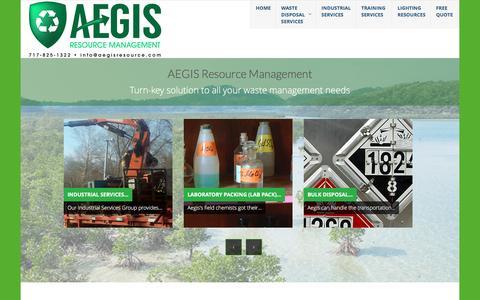 Screenshot of Home Page aegisresource.com - Home - Aegis Resource Management   Hazardous Waste Management - captured Nov. 19, 2016