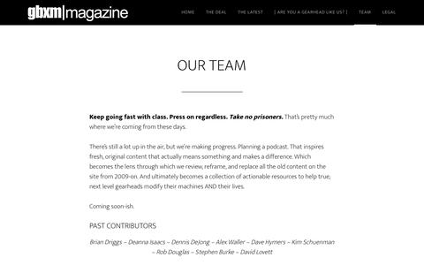 Screenshot of Team Page gearboxmagazine.com - Who is Team GBXM? - captured Sept. 25, 2018