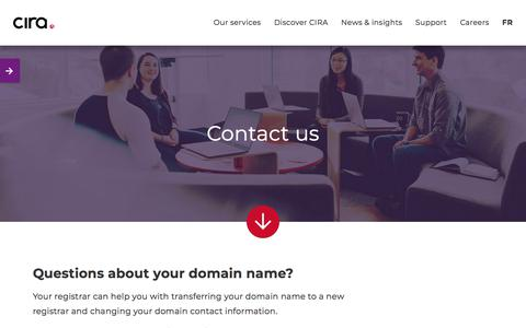 Screenshot of Contact Page cira.ca - Contact us | CIRA - captured Feb. 13, 2020