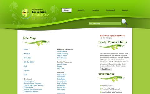 Screenshot of Site Map Page drkadamsdental.com - Dr. Kadam's Dental Clinic - Sitemap - captured Oct. 5, 2014