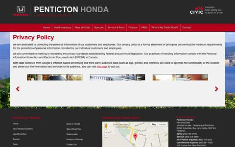 Screenshot of Privacy Page pentictonhonda.com - Privacy Policy | Penticton Honda - captured Oct. 28, 2014