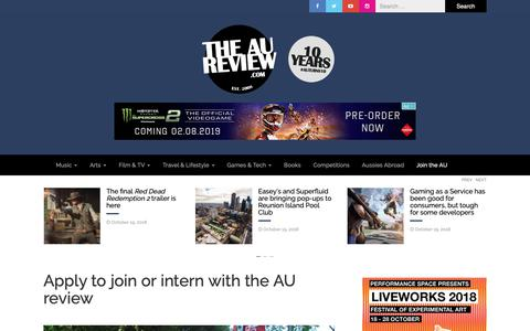 Screenshot of Signup Page theaureview.com - Apply to join or intern with the AU review – The AU Review - captured Oct. 19, 2018
