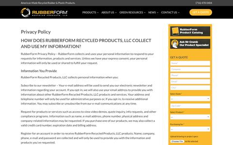 Screenshot of Privacy Page rubberform.com - Privacy Policy | RubberForm Recycled Products, LLC - captured Oct. 21, 2016