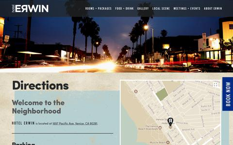 Screenshot of Maps & Directions Page hotelerwin.com - Directions - Venice Beach CA Hotel Erwin - captured Aug. 25, 2017