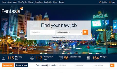 Screenshot of Home Page pentasia.com - Pentasia | Digital Jobs, Interactive Gaming & Entertainment Jobs - captured July 12, 2016