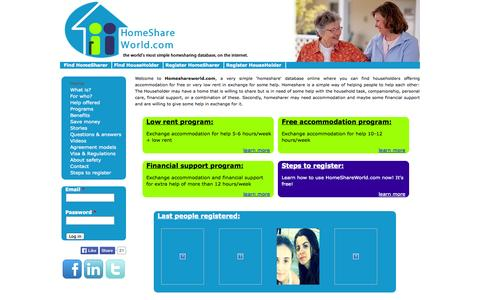 Screenshot of Home Page homeshareworld.com - homeshareworld.com ¦ the world's most simple homesharing database, on the internet. - captured Oct. 2, 2014