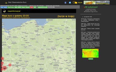 Screenshot of Home Page obserwatorzy.org - Mapa burzowa dla Polski - Sieć Obserwatorów Burz - captured Sept. 19, 2014