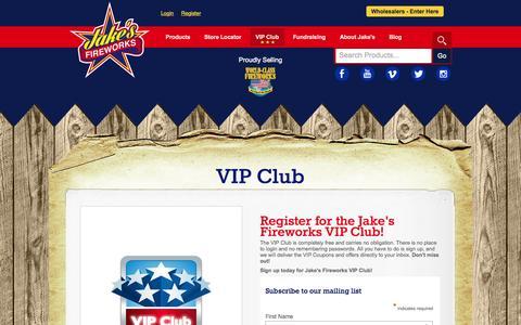 Screenshot of Signup Page jakesfireworks.com - VIP Club - Jake's Fireworks - captured Sept. 19, 2014