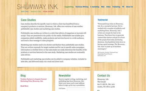 Screenshot of Case Studies Page shumwayink.com - Case Studies - Shumway Ink - Professional Writing, Marketing and Publishing ServicesShumway Ink – Professional Writing, Marketing and Publishing Services - captured Oct. 7, 2014
