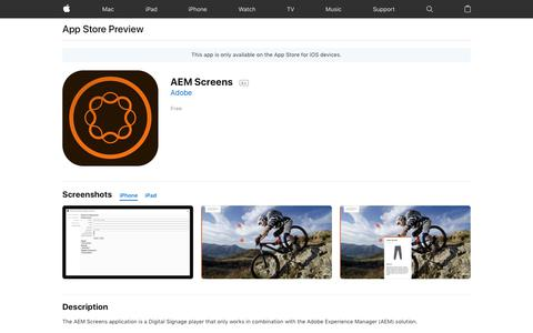 AEM Screens on the AppStore