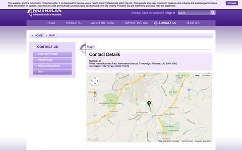 Screenshot of Maps & Directions Page nutricia.co.uk - Nutricia Advanced Medical Nutrition UK - uk.nutricia.com - captured Sept. 22, 2014