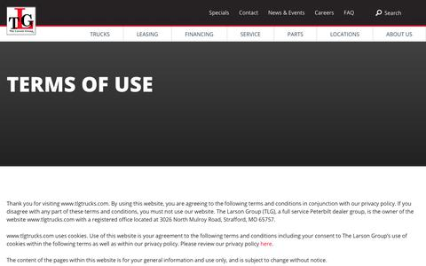 Screenshot of Terms Page tlgtrucks.com - Terms of Use | TLG - captured Sept. 29, 2018