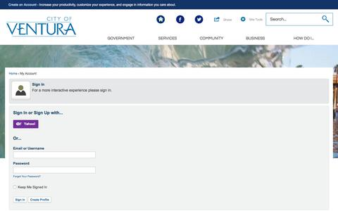 Screenshot of Login Page ca.gov - Ventura, CA - captured July 18, 2018