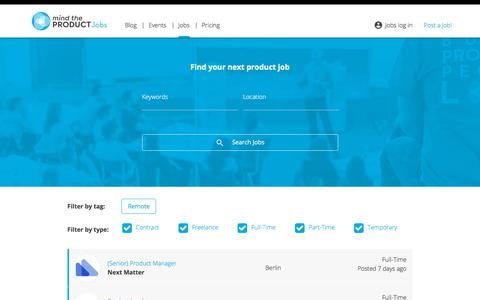Screenshot of Jobs Page mindtheproduct.com - Jobs - Product Management Jobs - Powered by Mind the Product - captured Sept. 17, 2019
