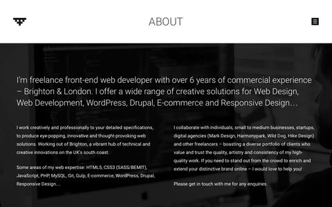 Screenshot of About Page iriepixel.com - About - IRIE PIXEL freelance Front-End Web Developer Brighton & London - captured Nov. 17, 2016
