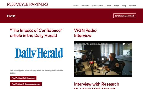 Screenshot of Press Page ressmeyerpartners.com - Ressmeyer Partners  » Press - captured Sept. 27, 2018