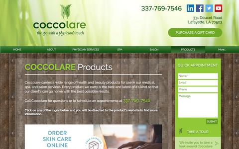 Screenshot of Products Page coccolarespa.com - Medical Aesthetics | Lafayette | Coccolare Spa | PRODUCTS - captured July 19, 2018