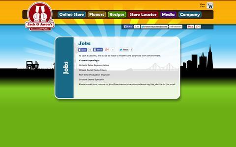 Screenshot of Jobs Page jackandjasons.com - Jobs «  Jack & Jason's Pancake & Waffle Mixes! - captured Oct. 2, 2014