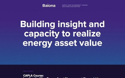 Screenshot of Home Page baiona.ca - Baiona | Energy Asset Management Training and Consulting Services - captured Sept. 30, 2014