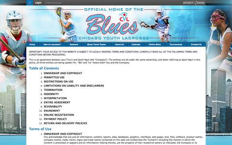 Screenshot of Terms Page chicagoyouthlacrosse.com - Terms of Use   Legal   Sport Ngin - captured Sept. 29, 2014