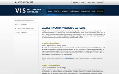Screenshot of Jobs Page valleycount.com - Careers with Valley Inventory Service - captured Nov. 5, 2014