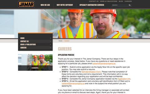 Screenshot of Jobs Page jamarcompany.com - Work for The Jamar Company | Job Postings - captured Oct. 6, 2014
