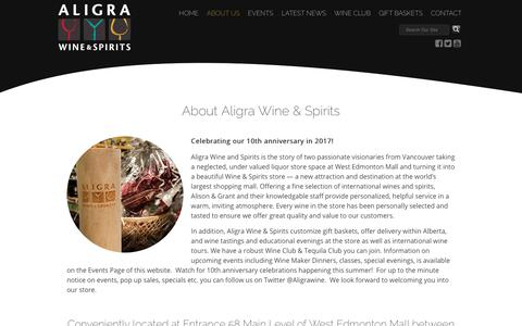 Screenshot of About Page aligrawineandspirits.com - About Us - captured Oct. 3, 2018