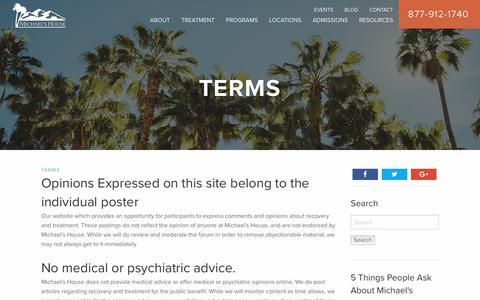 Screenshot of Terms Page michaelshouse.com - Terms | Michael's House Treatment Centers - captured June 10, 2017