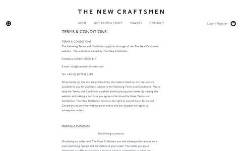 Screenshot of Terms Page thenewcraftsmen.com - Terms & Conditions | The New Craftsmen - captured Feb. 21, 2016