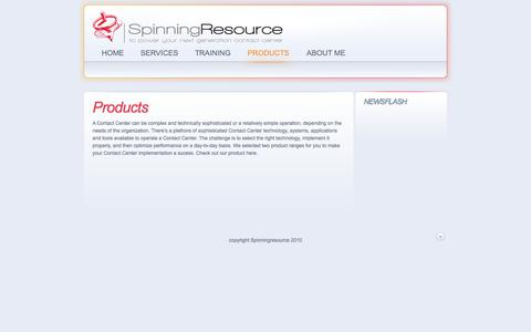Screenshot of Products Page spinningresource.com - www.spinningresource.com - Products - captured Oct. 1, 2014