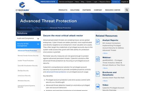 Advanced Threat Protection Solutions - CyberArk