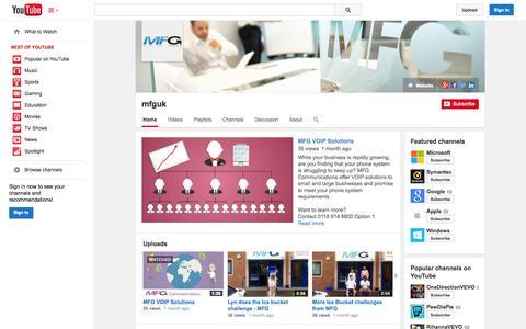 Screenshot of YouTube Page youtube.com - mfguk  - YouTube - captured Oct. 23, 2014