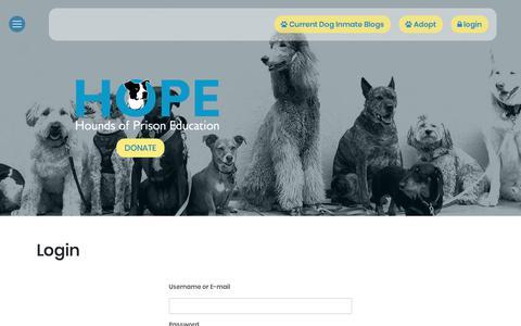 Screenshot of Login Page hopedogs.org - Login - Hope Dogs - captured Dec. 4, 2018