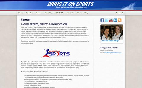 Screenshot of Jobs Page bringitonsports.com.au - Careers | Bring It On Sports - captured Aug. 4, 2018