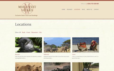 Screenshot of Locations Page marawestsafaris.com - Locations - Mara West Safaris - captured Oct. 27, 2014