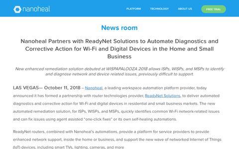 Screenshot of Press Page nanoheal.com - News room - Nanoheal - captured Oct. 19, 2018
