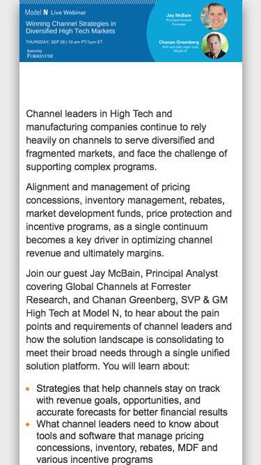 Model N – Forrester Webinar on Winning Channel Strategies in Diversified High Tech Markets
