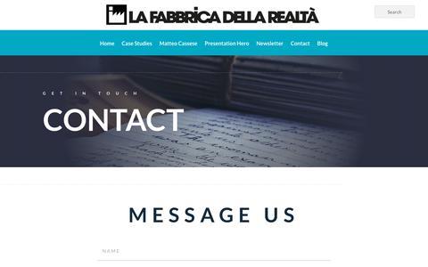 Screenshot of Contact Page lafabbricadellarealta.com - Contact - captured Dec. 9, 2019
