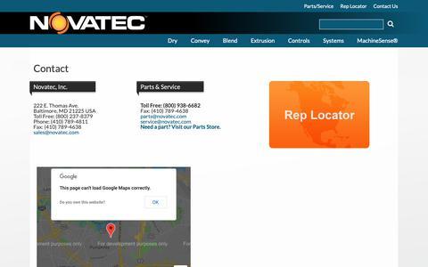 Screenshot of Contact Page novatec.com - Contact   Novatec - captured Nov. 9, 2018
