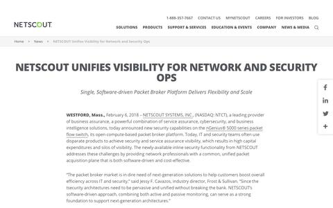 Screenshot of Press Page netscout.com - NETSCOUT Unifies Visibility for Network and Security Ops   NETSCOUT - captured March 18, 2018