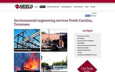Screenshot of Services Page shieldengineering.com - Environmental engineering services North Carolina, Tennessee - Shield Engineering - captured Oct. 7, 2014