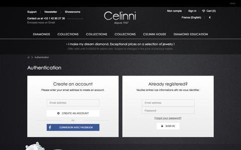 Screenshot of Login Page celinni.com - Connexion - Celinni Steinberg International - captured July 11, 2016
