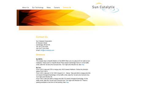 Screenshot of Contact Page Maps & Directions Page suncatalytix.com - Sun Catalytix :: Contact Us - captured Oct. 22, 2014