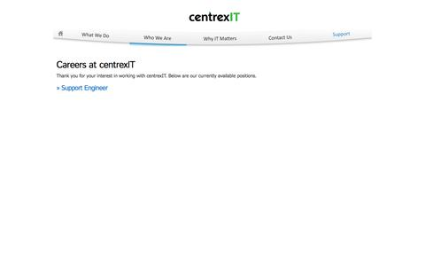Screenshot of Jobs Page centrexit.com - Careers | San Diego's Leader in IT Management | CentrexIT.com - captured Sept. 30, 2014